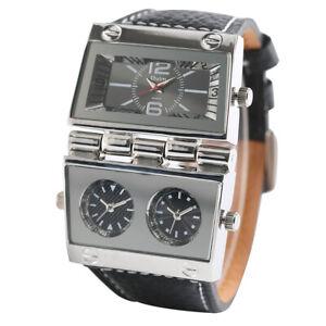 OULM Military Army Men Watches Japan Quartz Multi Time Zone Leather Wristwatch