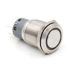 19mm Schalter (230V/5A) aus Edelstahl mit LED-Leuchtring 220V grün