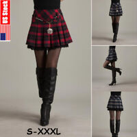 Plus Size High-waist Women School Girls Mini Skirt Plaid Pleated Short Dress US