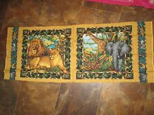 Vintage JUNGLE ANIMALS LION GIRAFFE ELEPANT Pillow Front 1990's Fabric PANEL