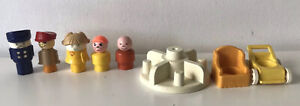 Vintage 1970s Fisher Price Little People Bundle Figures Roundabout Buggy