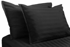 Gothic BLACK DAMASK PILLOW SHAMS Striped King Size Covers 100% Cotton Sham 2pcs