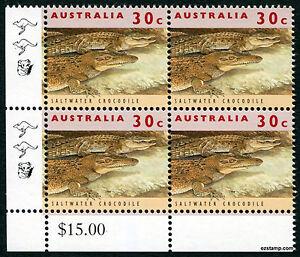 2017 30c Crocodile 11th Reprint 1994 Corner Value Block SG1361 MUH Mint Stamp #1