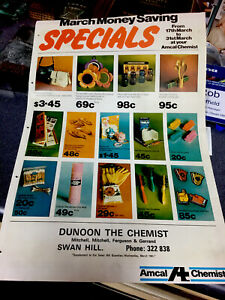 Amcal Chemist March Money Saving Specials-1970's Flyer-S Hill-Dunoon the Chemist