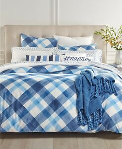 Charter Club Damask Designs Painted Plaid 3 Piece FULL/QUEEN Comforter Set i2010