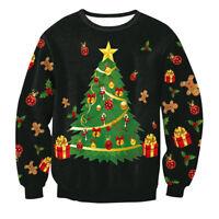 Damen Herren Weihnachten Pullover Sweater Sweatshirt Baum Elch Hoodie Kapuzen P/