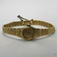 Vintage Seiko Womens Wind Up Mechanical 1100-1469 Gold Tone Analog Wristwatch