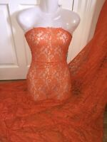 """1 MTR ORANGE LACE NET LYCRA STRETCH FABRIC...60"""" WIDE £3.49 SPECIAL OFFER"""