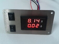 Schalterpanel Voltmeter / Amperemeter DC Edelstahlblende matt 2 Schalter NEU