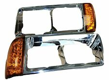 FREIGHTLINER FLD HEADLIGHT BEZEL WITH LED CORNER LIGHT | 2 WIRES | PAIR