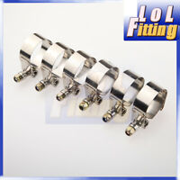 """6PCS 2.25"""" inch Turbo Pipe Hose Coupler T-bolt Clamps Stainless Steel 60-68mm"""