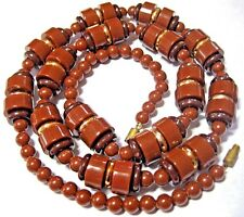 PRETTY VINTAGE Chocolate Brown Geometrical LUCITE Early Plastic BEAD NECKLACE