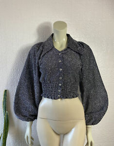 Vintage Top Lurex Silver Bell Sleeves Size 8 - 10