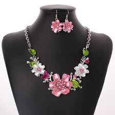 Nice Jewelry Leaf Flower Crystal Sliver Plated Chain Necklace And Earrings Set