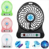 Portable Rechargeable LED Light Fan Air Cooler Mini USB Desk Charging Fan Q5M5