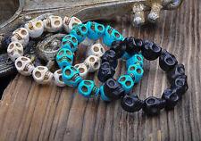 Lot 3pcs Surfer Stone Skull Beads Stretchy Wristband Bracelet Bangle 12mm