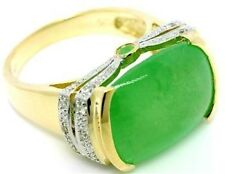 13.62ct Jade & Diamond 9K 9ct 375 Solid Gold Ring - 30 Day Refunds