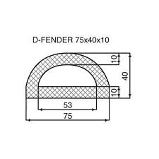 Rubber Boat D Fender - 75mm base x 40mm high x 10.0mm