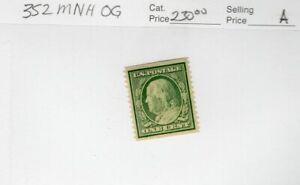 U.S # 352 Coil Single MNH   CV $230.00