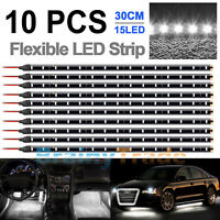 10Pack 30CM 15 LED Flexible Strip Light Car Motorcycle Decor Lights Waterproof