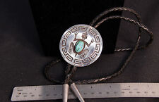 """LARGE 2 5/8"""" d  Hopi Hand-Sawn Sterling Frog Motif Bolo Tie by Lawrence Saufkie"""