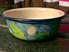 "RARE Signed Art Pottery Green Blue White 5 x 2"" Bowl Handmade Handcrafted NICE!"