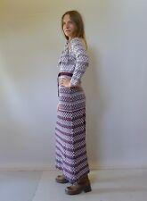 Vintage retro true 70s 10 S purple knit maxi dress England exc Susan Small