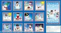 "Fabric QUILTING TREASURES ~ A SNOWMAN STORY ~ Studio 8 (45429 B) 24"" x 42"""