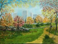 "Art16""/12""oil Painting,Sunny Autumn day  in Central Park, New York, landscape,"
