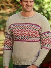 "FM13 - Knitting Pattern - Men's Aran Fair Isle Patterned Jumper - Sizes 34-44"""