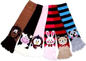 12 Pairs Fuzzy Animals Toe Socks Calf Length Funny Feet Striped Winter Size 9-11