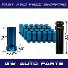 "24 Spline Lug Nuts with Key M14x1.5 Blue 2"" TALL CHEVY SILVERADO GMC JEEP RAM"