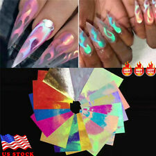 16pcs Holographic Fire Flame Hollow Stencil Stickers Manicure Decal Nail Art DIY