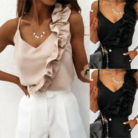 ❤️ Womens Ruffle V Neck Vest Tops Sleeveless Strappy Blouse Summer Cami Tank Top