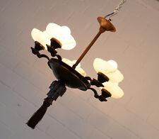 alte Messing Bronze Alabasta Lüster Kronleuchter 5 flammig Gründerzeit um 1900