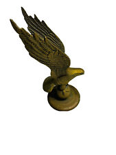 """Vintage Large Heavy Brass Flying Eagle Statue Clutching Globe Patina 9"""""""