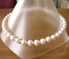 10.9mm WHITE SOUTH SEA PEARL NECKLACE 100% UNTREATED COLOUR+18ct GOLD CLASP+CERT