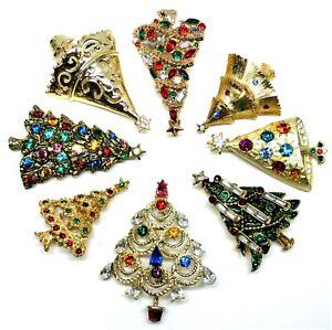 Mostly Vintage Christmas Tree Pin Brooches Enamel Rhinestones Lot T7
