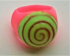 Rare Vending Machine Prize Plastic Hippie Hypno Swirl Pink Ring 1970s NOS New
