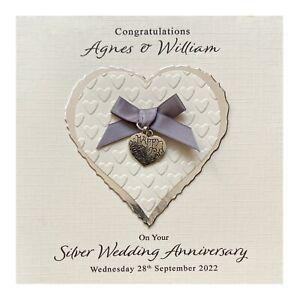 Handmade PERSONALISED Silver 25th Wedding Anniversary Card - Heart Charm