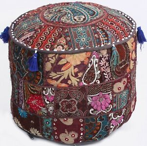 """17"""" Brown Indian Embroidered Ottoman Pouf Foot Stool Chair Cover Moroccan Seat"""