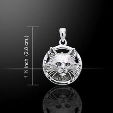 Jody Bergsma Long Hair Cat .925 Sterling Silver Pendant by Peter Stone