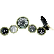 Willys MB Jeep Ford GPW Gauges Kit Speedometer Temp-Oil Fuel Ampere Green GEc
