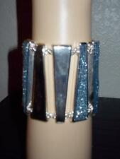 ROBERT LEE MORRIS SOHO SILVER-TONE WITH BLUE GLITTER TOGGLE BRACELET