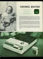 Channel Master 6545 Portable Tape Recorder Rare Vintage Orig Dealer Sheet Page