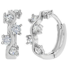 Rhodium Plated Clear CZ Hoop Huggie Comfortable Earrings 13mm