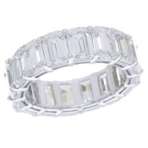 10.30 Ct Emerald Cut Diamond Anniversary Band Ring 14k White Gold Over Sz 9