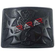 AAR Scottish Kilt Belt Buckle Thistle knot Celtic Design Jet Black Finish