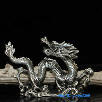 Wonderful Chinese Tibet silver Jade Carved Dragon Flute