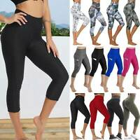 Women Sports Capri Leggings With Pockets High Waist 3/4 Fitness Gym Yoga Pants